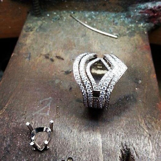 Montage bague or blanc et diamants