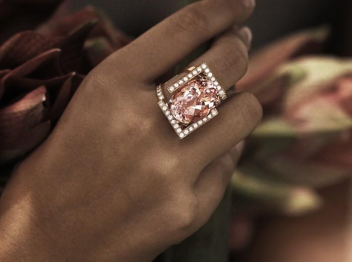 Exceptionnel Bague-morganite-ovale-or-rose-diamants-cocktail-création-pièce-unique MY48