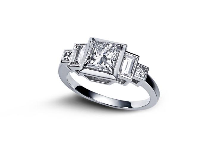 bague art deco or blanc diamant princesse. Black Bedroom Furniture Sets. Home Design Ideas